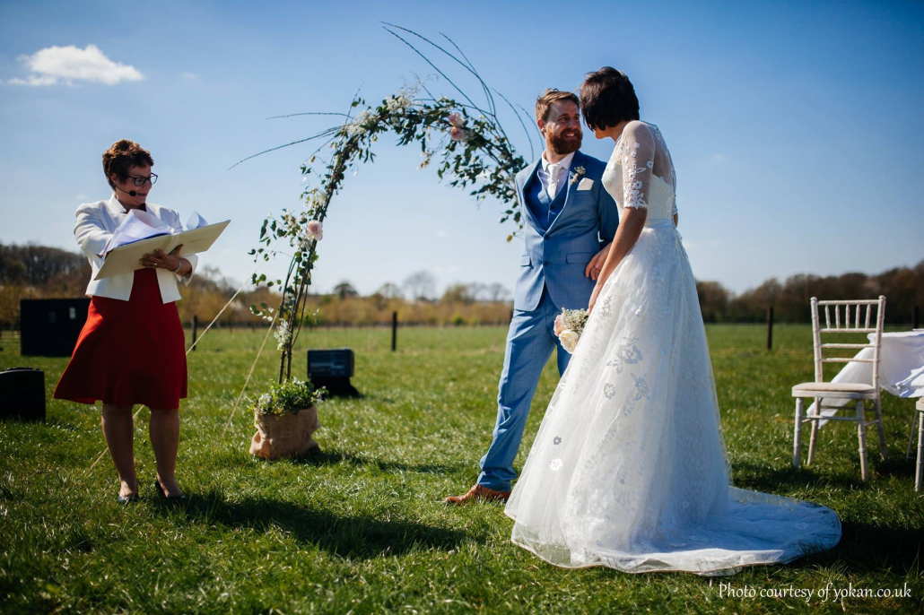 Outdoor Wedding Ceremony, Rebecca Waldron. Festival Wedding