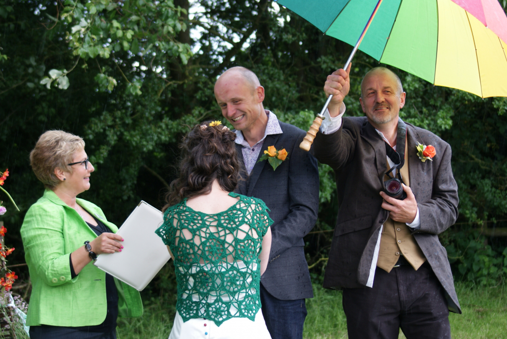 Outdoor Wedding Ceremony, wedding ceremony, rain, celebrant, White Rose Ceremonies, Rebecca Waldron